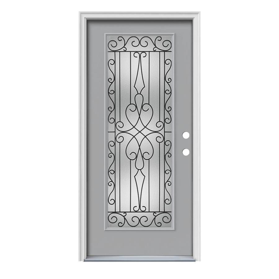 JELD-WEN Wyngate Decorative Glass Left-Hand Inswing Infinity Grey Painted Steel Prehung Entry Door with Insulating Core (Common: 36-in x 80-in; Actual: 37.5000-in x 81.7500-in)