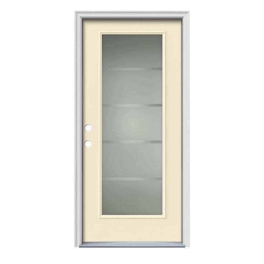 JELD-WEN Crosslines Decorative Glass Right-Hand Inswing Bisque Painted Steel Prehung Entry Door with Insulating Core (Common: 36-in x 80-in; Actual: 37.5000-in x 81.7500-in)