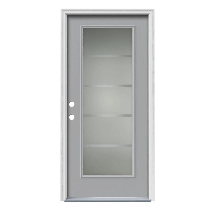 JELD-WEN Crosslines Decorative Glass Right-Hand Inswing Infinity Grey Steel Painted Entry Door (Common: 36-in x 80-in; Actual: 37.5-in x 81.75-in)