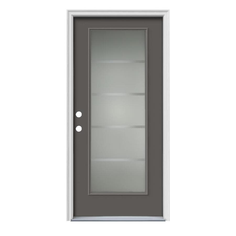 JELD-WEN Crosslines Decorative Glass Right-Hand Inswing Timber Gray Painted Steel Prehung Entry Door with Insulating Core (Common: 36-in x 80-in; Actual: 37.5000-in x 81.7500-in)