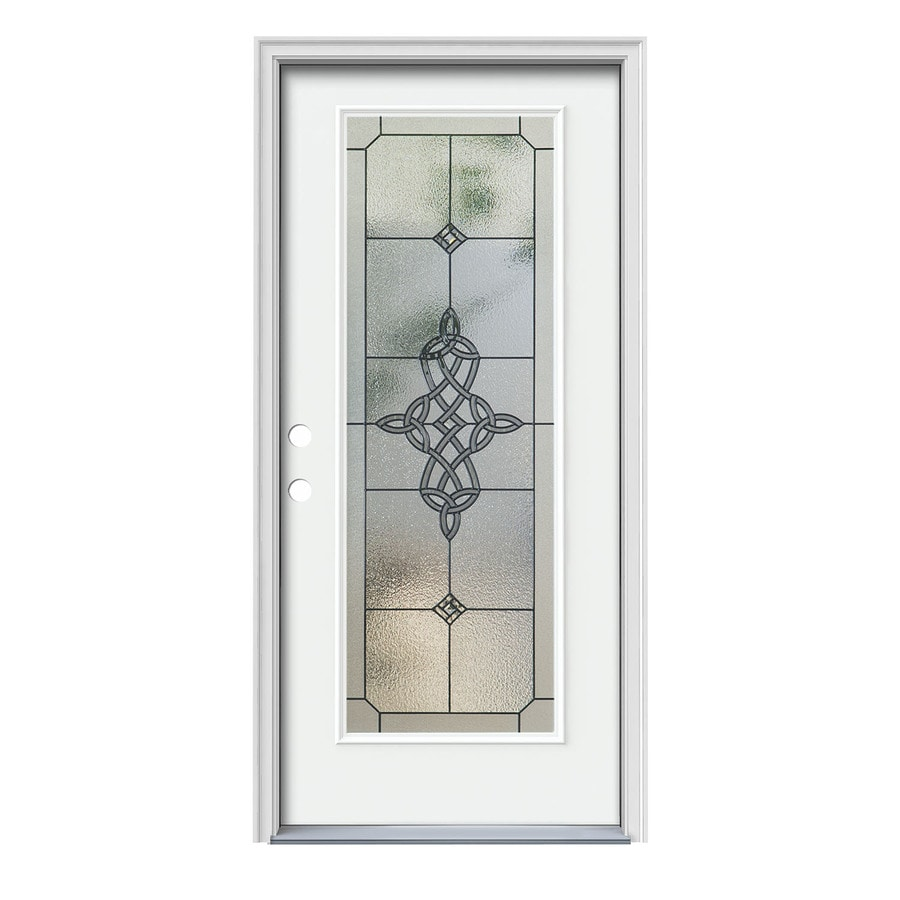 JELD-WEN Dylan Flush Insulating Core Full Lite Right-Hand Inswing Modern White Steel Painted Prehung Entry Door (Common: 36-in x 80-in; Actual: 37.5-in X