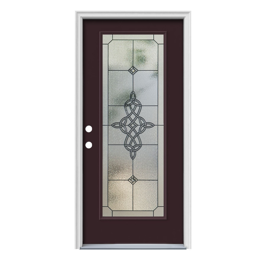JELD-WEN Dylan Flush Insulating Core Full Lite Right-Hand Inswing Currant Steel Painted Prehung Entry Door (Common: 36-in x 80-in; Actual: 37.5-in x 81.75-in)