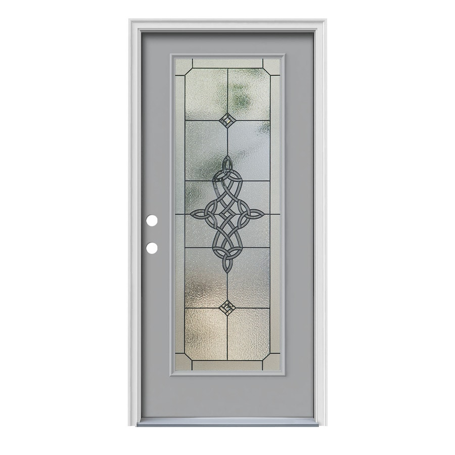 JELD-WEN Dylan Decorative Glass Right-Hand Inswing Infinity Grey Steel Painted Entry Door (Common: 36-in x 80-in; Actual: 37.5-in x 81.75-in)