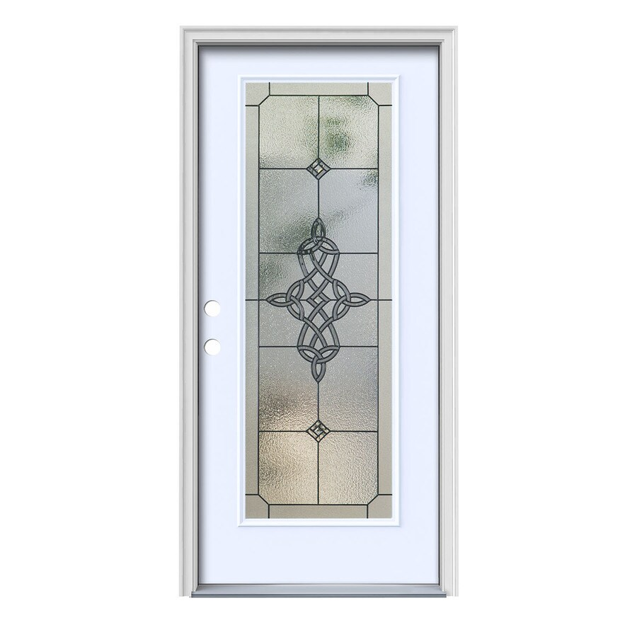 JELD-WEN Dylan Decorative Glass Right-Hand Inswing Primed Painted Steel Prehung Entry Door with Insulating Core (Common: 36-in x 80-in; Actual: 37.5000-in x 81.7500-in)