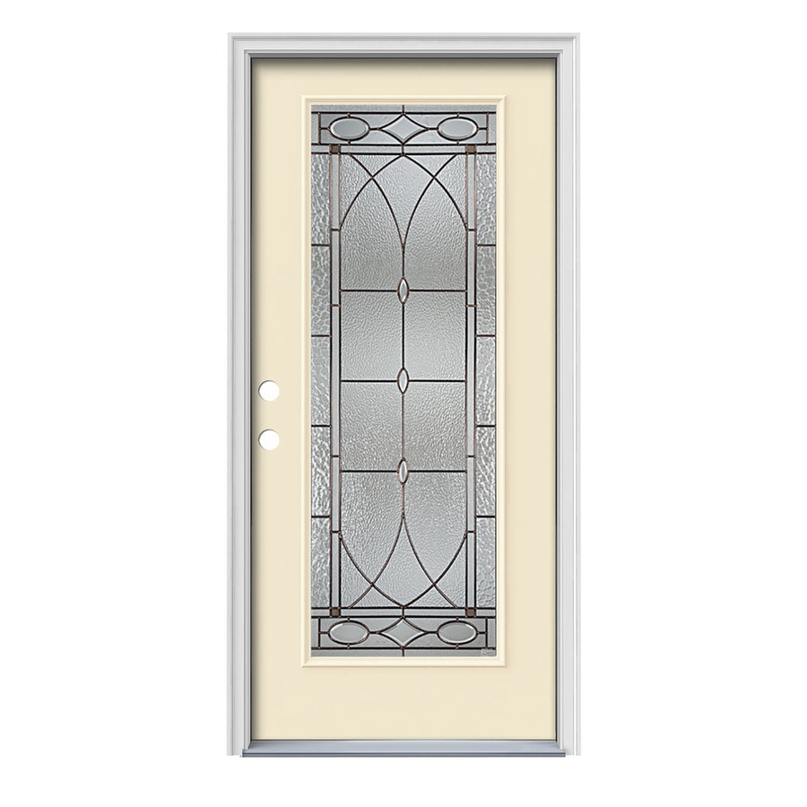 JELD-WEN Hutton Decorative Glass Right-Hand Inswing Bisque Painted Steel Prehung Entry Door with Insulating Core (Common: 36-in x 80-in; Actual: 37.5000-in x 81.7500-in)