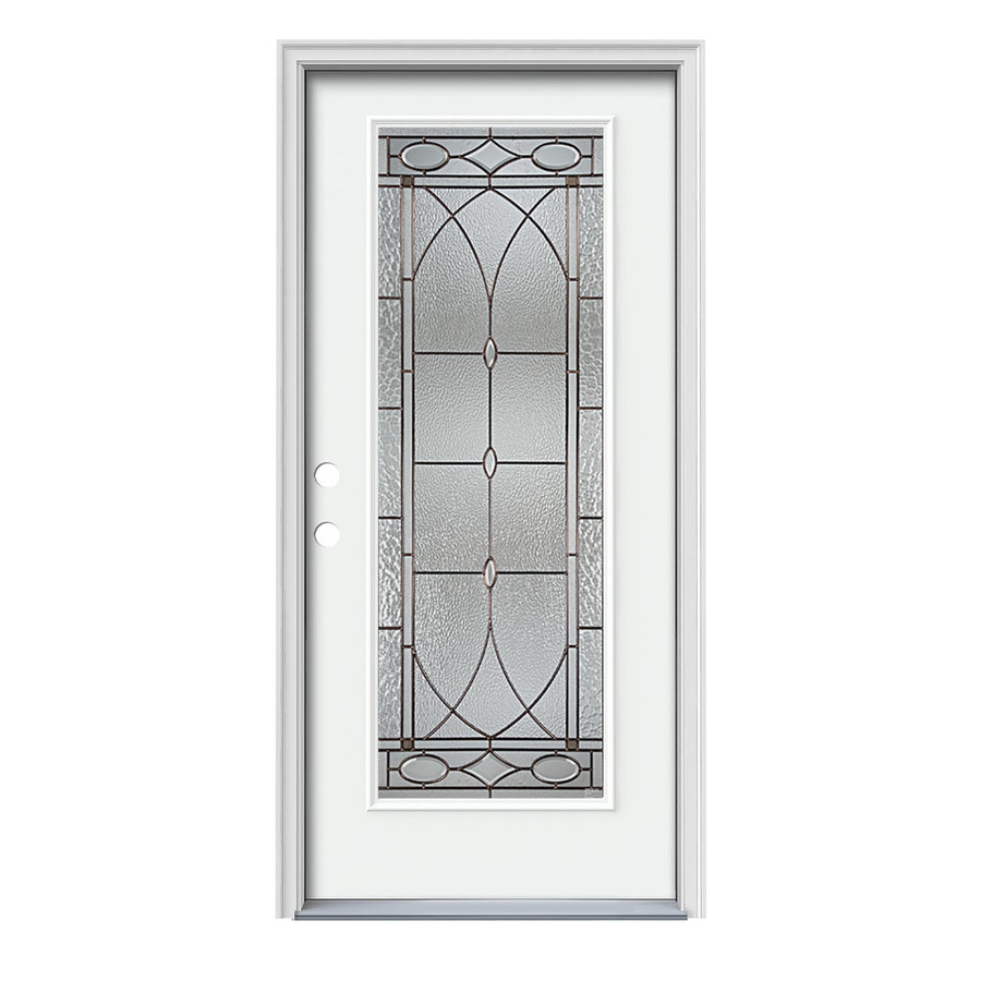 JELD-WEN Hutton Flush Insulating Core Full Lite Right-Hand Inswing Modern White Steel Painted Prehung Entry Door (Common: 36-in x 80-in; Actual: 37.5-in x 81.75-in)