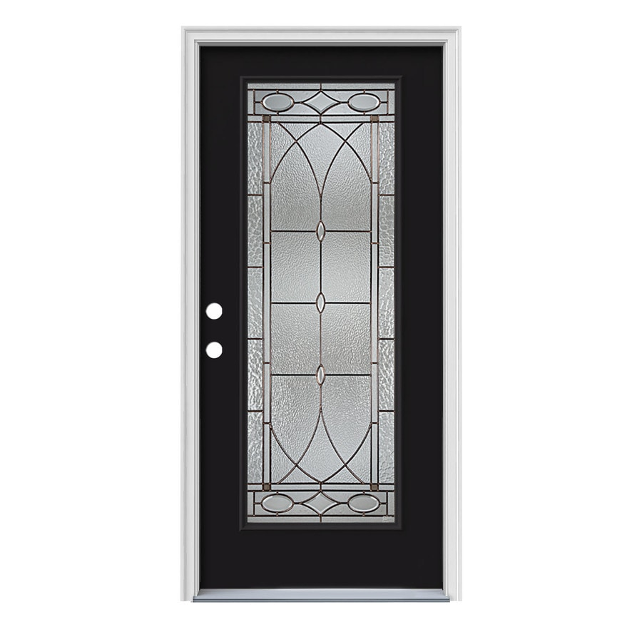 JELD-WEN Hutton Flush Insulating Core Full Lite Right-Hand Inswing Peppercorn Steel Painted Prehung Entry Door (Common: 36-in x 80-in; Actual: 37.5-in x 81.75-in)