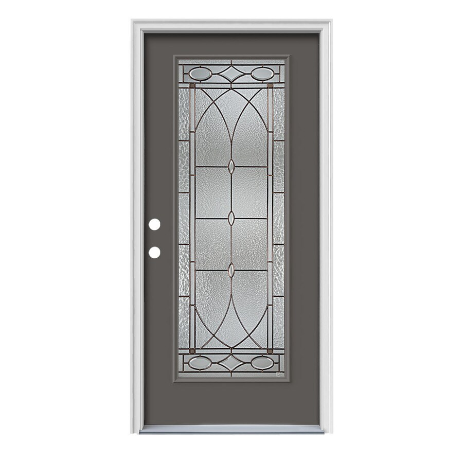 JELD-WEN Hutton Decorative Glass Right-Hand Inswing Timber Gray Painted Steel Prehung Entry Door with Insulating Core (Common: 36-in x 80-in; Actual: 37.5000-in x 81.7500-in)