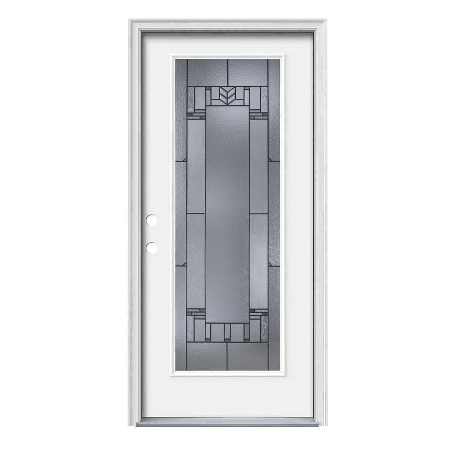 JELD-WEN Leighton Decorative Glass Right-Hand Inswing Modern White Painted Steel Prehung Entry Door with Insulating Core (Common: 36-in x 80-in; Actual: 37.5000-in x 81.7500-in)