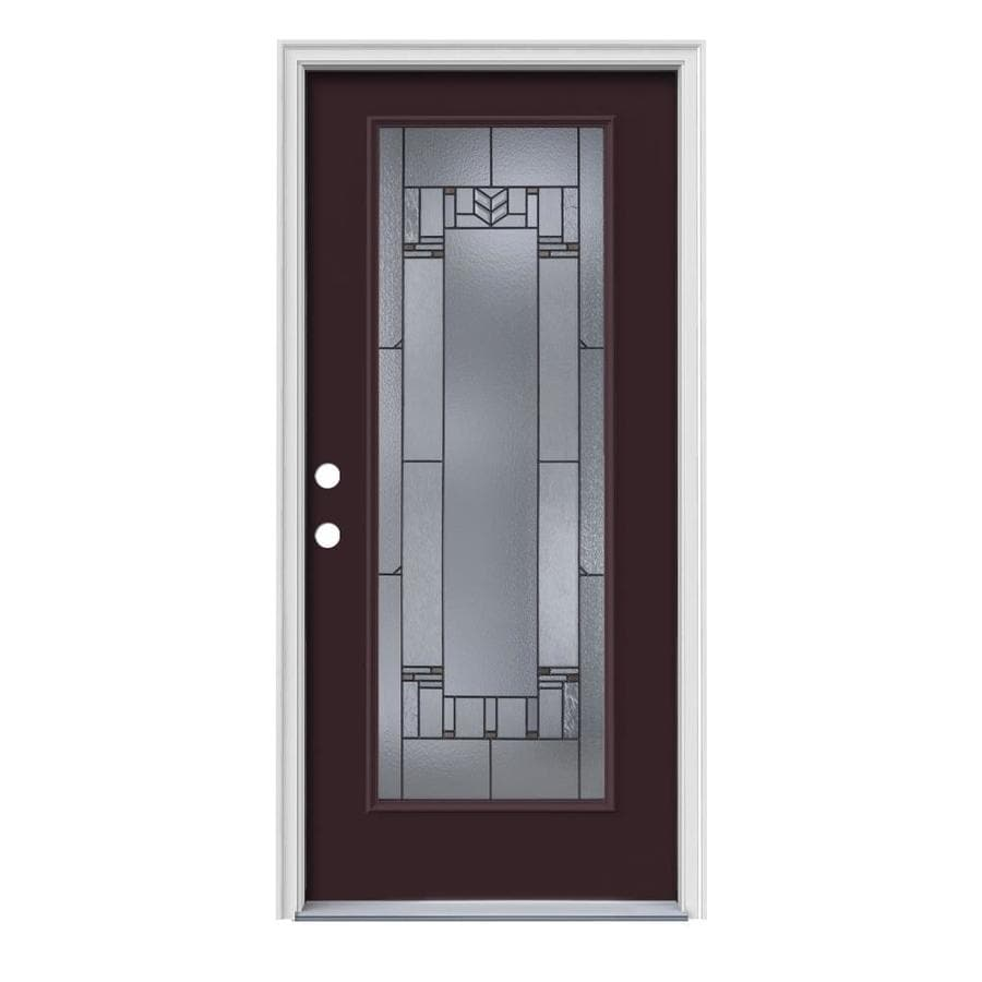 Shop jeld wen leighton decorative glass right hand inswing currant painted steel prehung entry Jeld wen prehung exterior doors