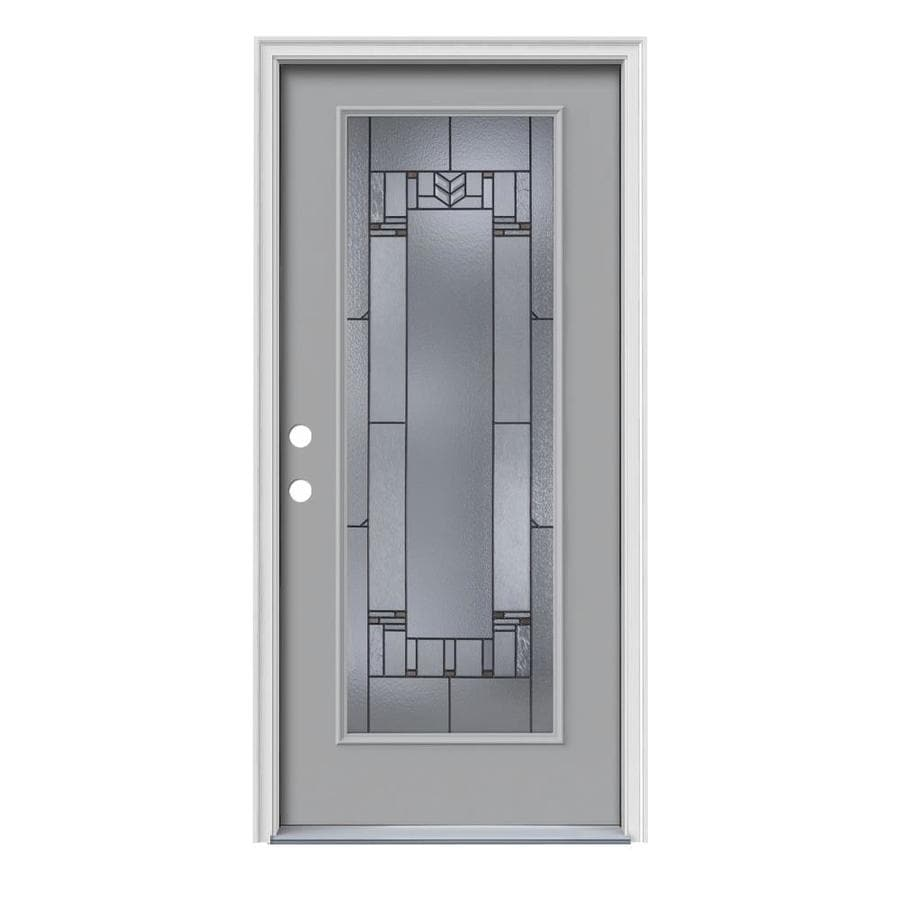 JELD-WEN Leighton Decorative Glass Right-Hand Inswing Infinity Grey Steel Painted Entry Door (Common: 36-in x 80-in; Actual: 37.5-in x 81.75-in)