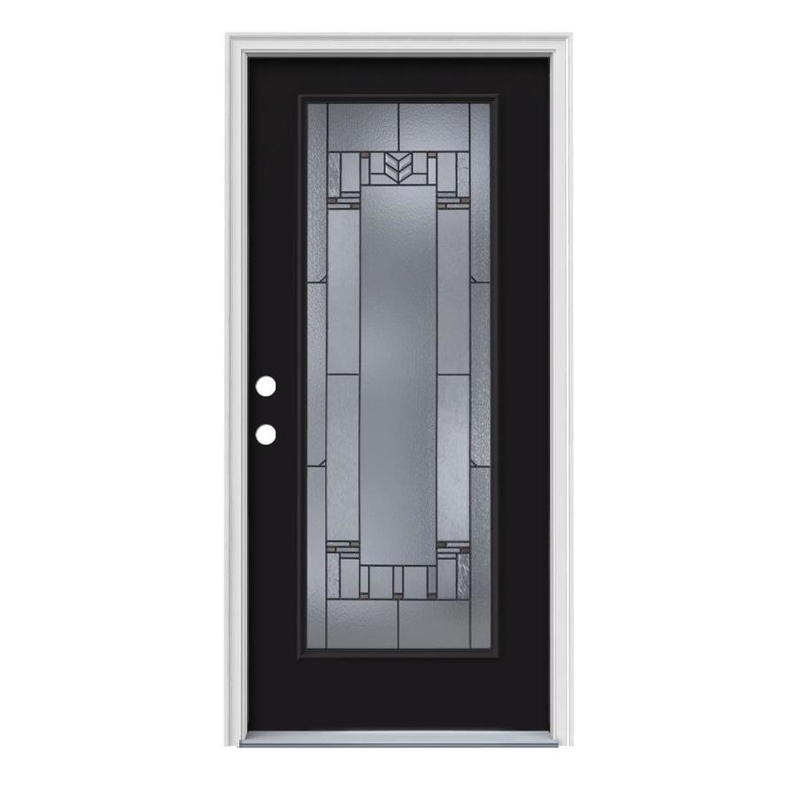 JELD-WEN Leighton Decorative Glass Right-Hand Inswing Peppercorn Painted Steel Prehung Entry Door with Insulating Core (Common: 36-in x 80-in; Actual: 37.5000-in x 81.7500-in)