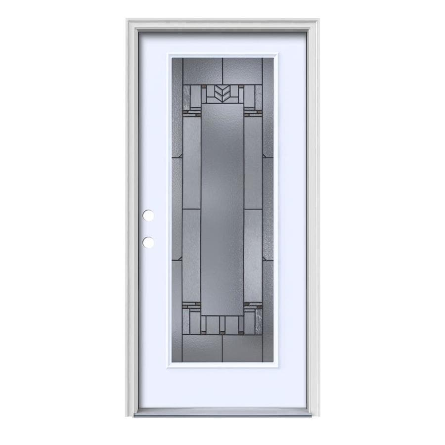 JELD-WEN Leighton Decorative Glass Right-Hand Inswing Primed Steel Painted Entry Door (Common: 36-in x 80-in; Actual: 37.5-in x 81.75-in)