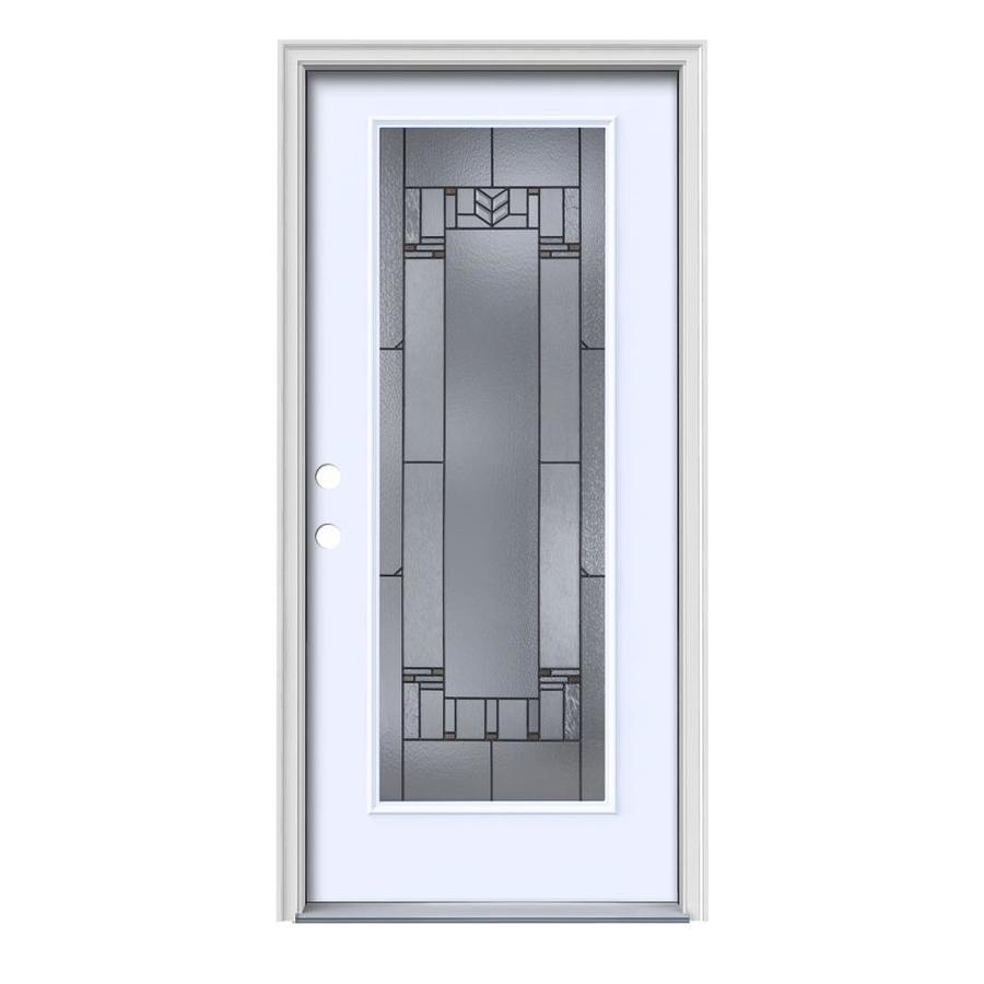 JELD-WEN Leighton Decorative Glass Right-Hand Inswing Primed Painted Steel Prehung Entry Door with Insulating Core (Common: 36-in x 80-in; Actual: 37.5-in x 81.75-in)