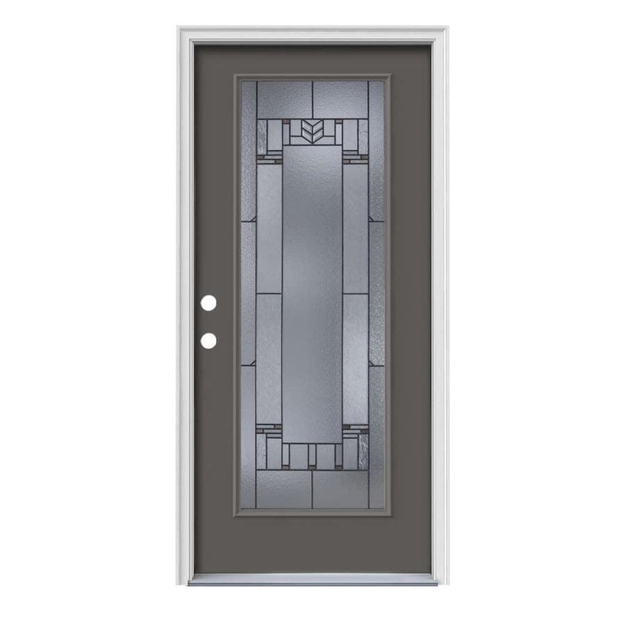 JELD-WEN Leighton Decorative Glass Right-Hand Inswing Timber Gray Steel Painted Entry Door (Common: 36-in x 80-in; Actual: 37.5-in x 81.75-in)