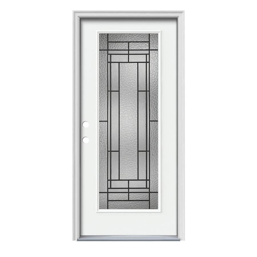 Decorative Steel Doors : Shop jeld wen pembrook decorative glass right hand inswing