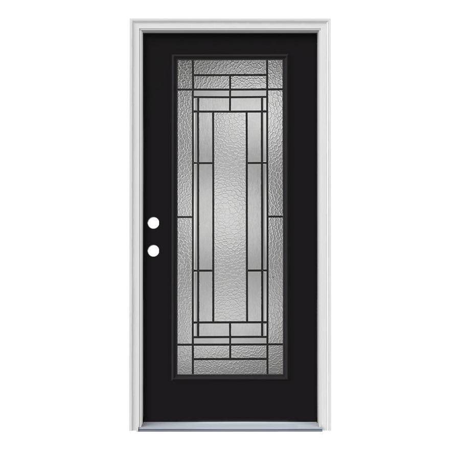 Shop jeld wen pembrook full lite decorative glass right for Jeld wen front entry doors