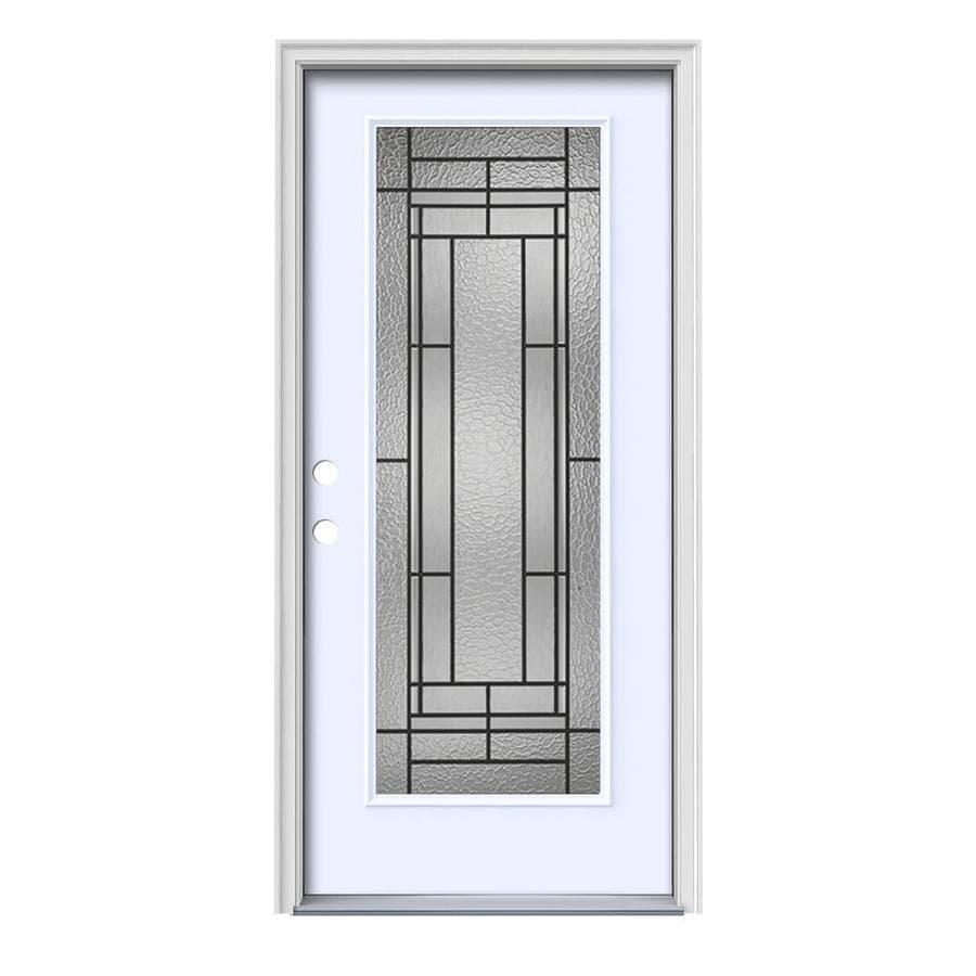 JELD-WEN Pembrook Decorative Glass Right-Hand Inswing Primed Painted Steel Prehung Entry Door with Insulating Core (Common: 36-in x 80-in; Actual: 37.5-in x 81.75-in)