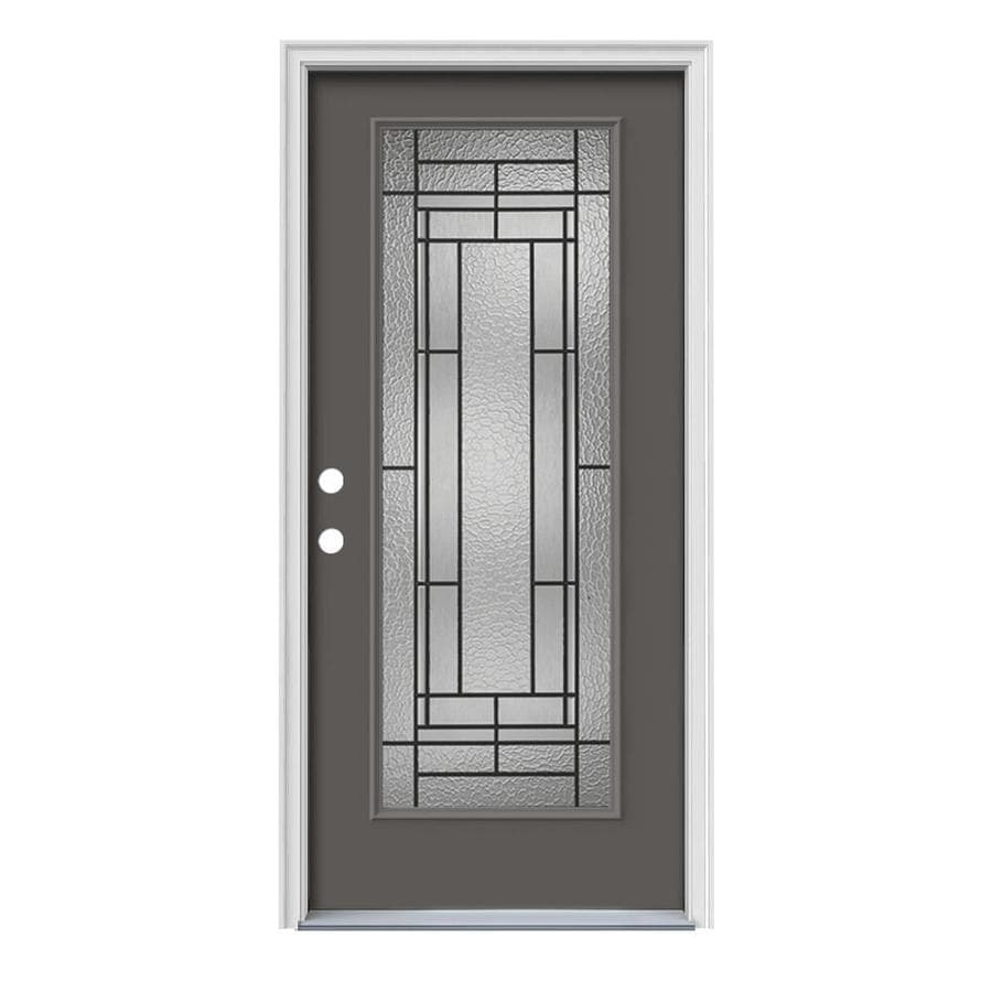 JELD-WEN Pembrook Decorative Glass Right-Hand Inswing Timber Gray Painted Steel Prehung Entry Door with Insulating Core (Common: 36-in x 80-in; Actual: 37.5000-in x 81.7500-in)
