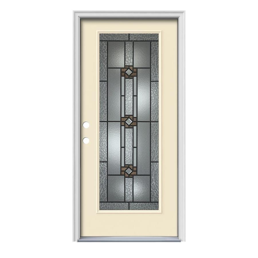 JELD WEN Sonora Full Lite Decorative Glass Right Hand Inswing Bisque  Painted Steel Prehung