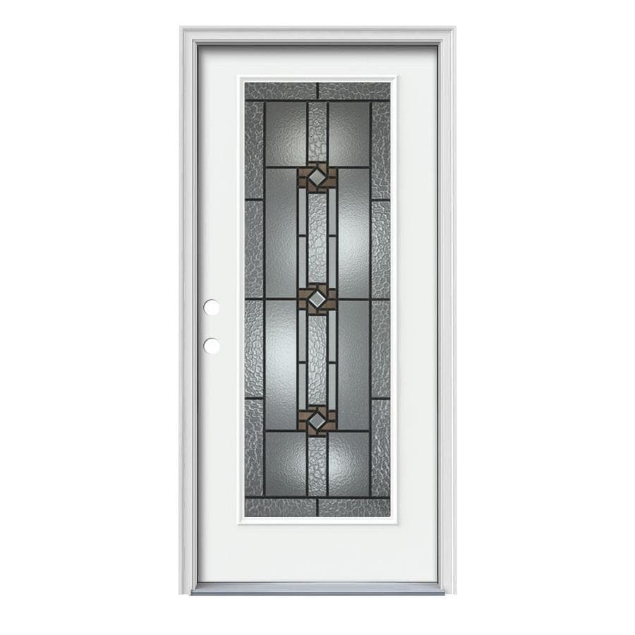 JELD-WEN Sonora Decorative Glass Right-Hand Inswing Modern White Painted Steel Prehung Entry Door with Insulating Core (Common: 36-in x 80-in; Actual: 37.5-in x 81.75-in)