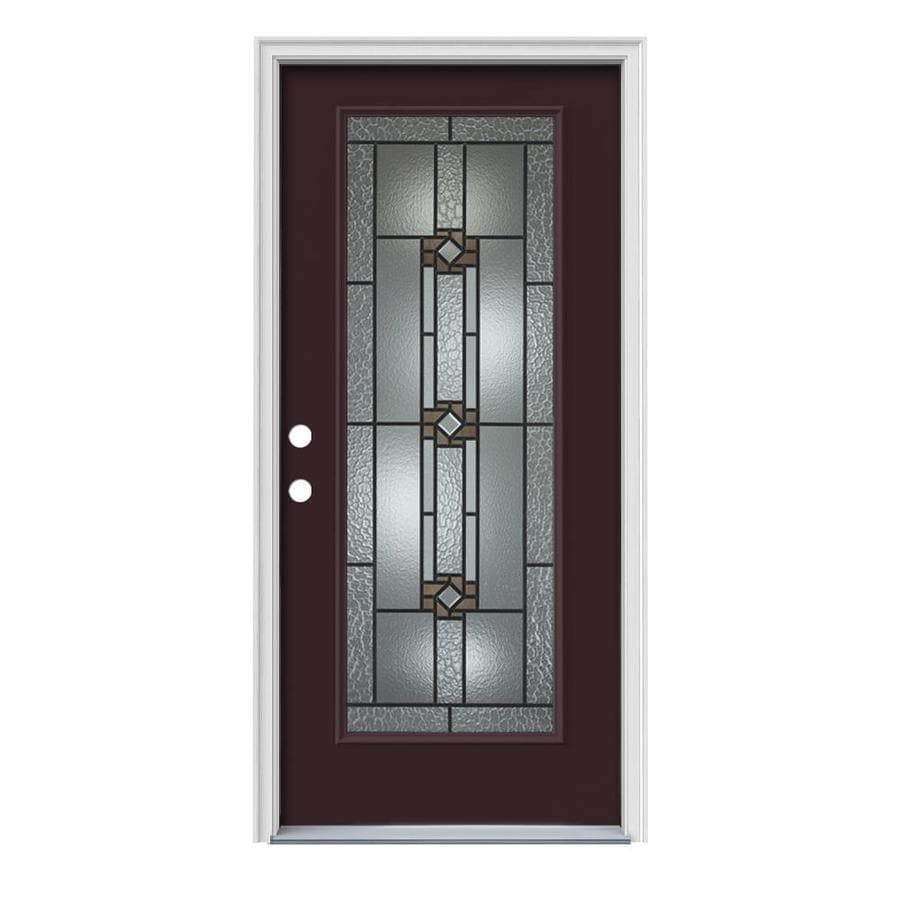 JELD-WEN Sonora Decorative Glass Right-Hand Inswing Currant Painted Steel Prehung Entry Door with Insulating Core (Common: 36-in x 80-in; Actual: 37.5000-in x 81.7500-in)
