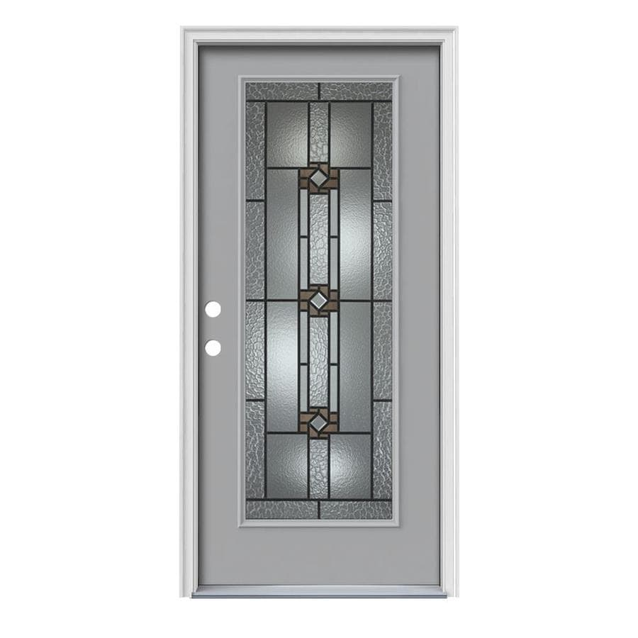 JELD-WEN Sonora Decorative Glass Right-Hand Inswing Infinity Grey Steel Painted Entry Door (Common: 36-in x 80-in; Actual: 37.5-in x 81.75-in)