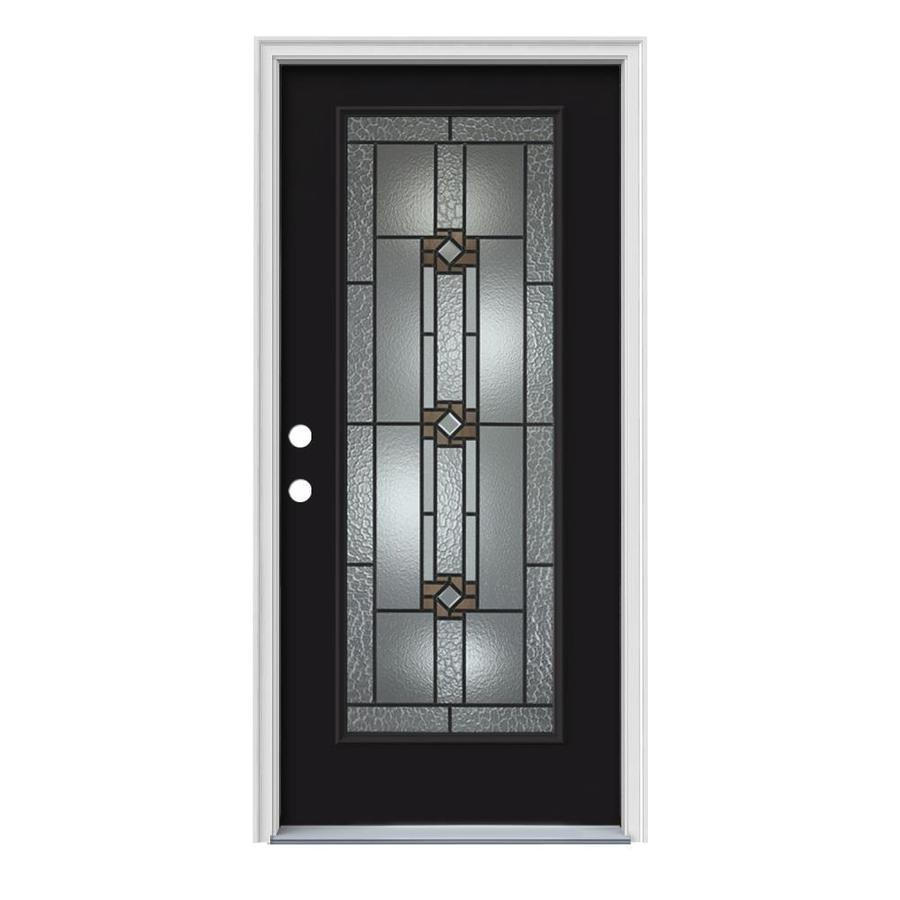 JELD-WEN Sonora Flush Insulating Core Full Lite Right-Hand Inswing Peppercorn Steel Painted Prehung Entry Door (Common: 36-in x 80-in; Actual: 37.5-in x 81.75-in)