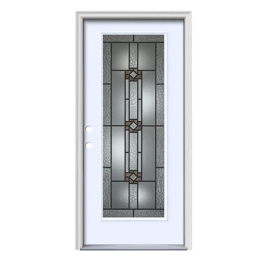 JELD-WEN Sonora Decorative Glass Right-Hand Inswing Primed Painted Steel Prehung Entry Door with Insulating Core (Common: 36-in x 80-in; Actual: 37.5-in x 81.75-in)