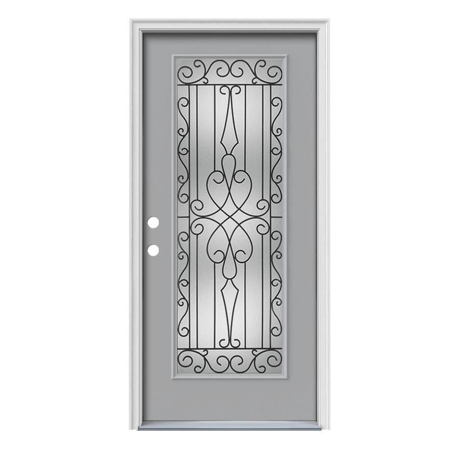 JELD-WEN Wyngate Decorative Glass Right-Hand Inswing Infinity Grey Painted Steel Prehung Entry Door with Insulating Core (Common: 36-in x 80-in; Actual: 37.5000-in x 81.7500-in)