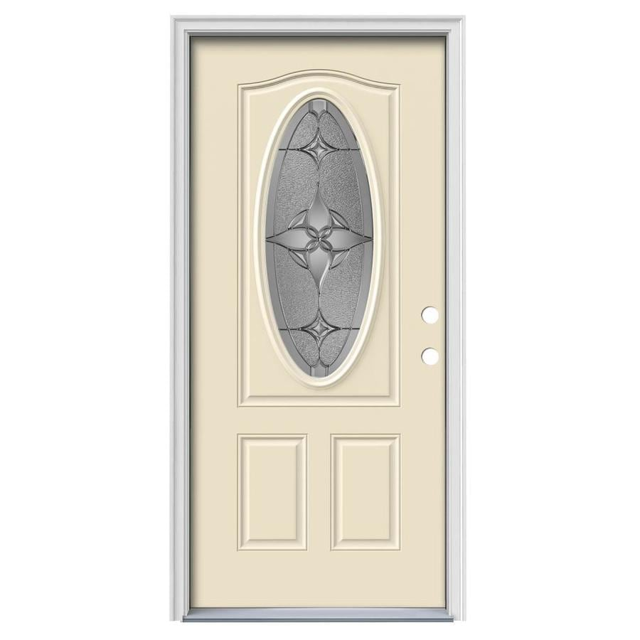JELD-WEN Astrid Decorative Glass Left-Hand Inswing Bisque Painted Steel Prehung Entry Door with Insulating Core (Common: 36-in x 80-in; Actual: 37.5-in x 81.75-in)