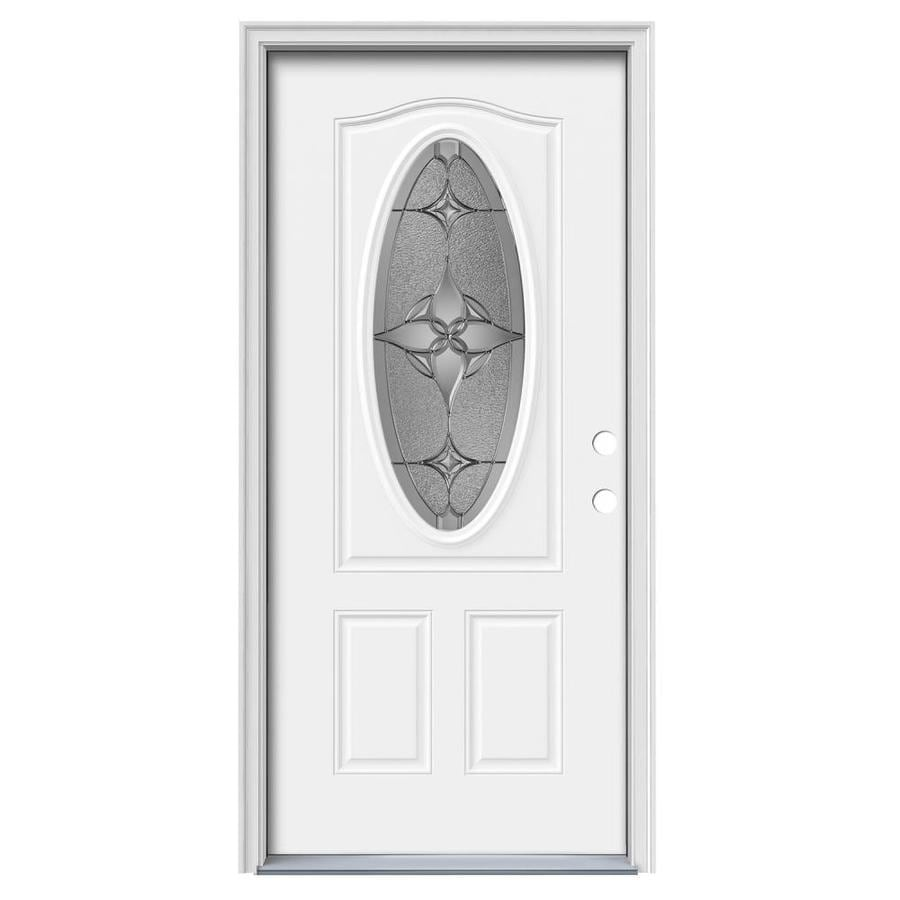 JELD-WEN Astrid Decorative Glass Left-Hand Inswing Modern White Painted Steel Prehung Entry Door with Insulating Core (Common: 36-in x 80-in; Actual: 37.5000-in x 81.7500-in)