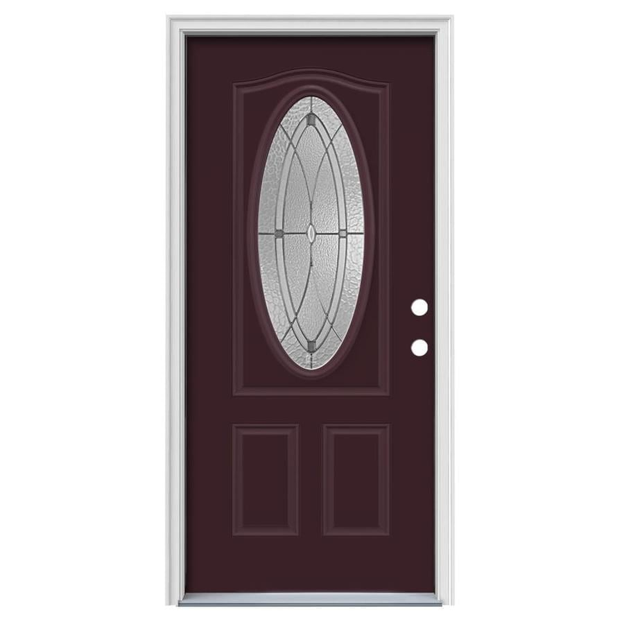 JELD-WEN Astrid Decorative Glass Left-Hand Inswing Currant Painted Steel Prehung Entry Door with Insulating Core (Common: 36-in x 80-in; Actual: 37.5000-in x 81.7500-in)