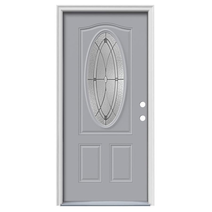 JELD-WEN Astrid Decorative Glass Left-Hand Inswing Infinity Grey Steel Painted Entry Door (Common: 36-in x 80-in; Actual: 37.5000-in x 81.7500-in)