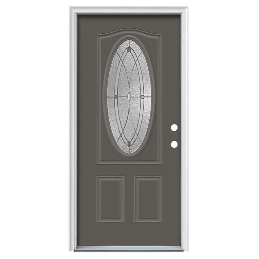JELD-WEN Astrid Decorative Glass Left-Hand Inswing Timber Gray Painted Steel Prehung Entry Door with Insulating Core (Common: 36-in x 80-in; Actual: 37.5-in x 81.75-in)