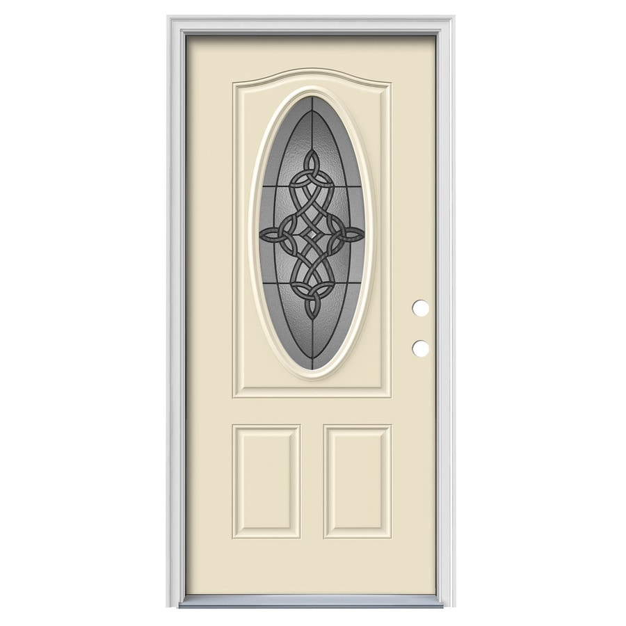 JELD-WEN Dylan Decorative Glass Left-Hand Inswing Bisque Painted Steel Prehung Entry Door with Insulating Core (Common: 36-in x 80-in; Actual: 37.5000-in x 81.7500-in)