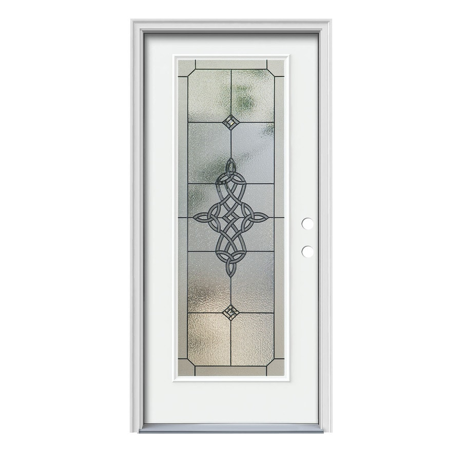 JELD-WEN Dylan Decorative Glass Left-Hand Inswing Modern White Painted Steel Prehung Entry Door with Insulating Core (Common: 36-in x 80-in; Actual: 37.5-in x 81.75-in)