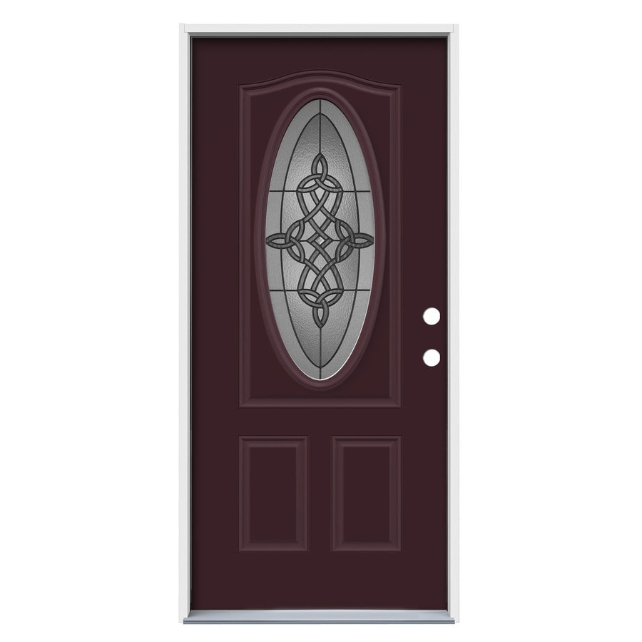 JELD-WEN Dylan Decorative Glass Left-Hand Inswing Currant Painted Steel Prehung Entry Door with Insulating Core (Common: 36-in x 80-in; Actual: 37.5-in x 81.75-in)