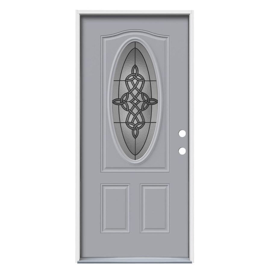 JELD-WEN Dylan Decorative Glass Left-Hand Inswing Infinity Grey Steel Painted Entry Door (Common: 36-in x 80-in; Actual: 37.5000-in x 81.7500-in)