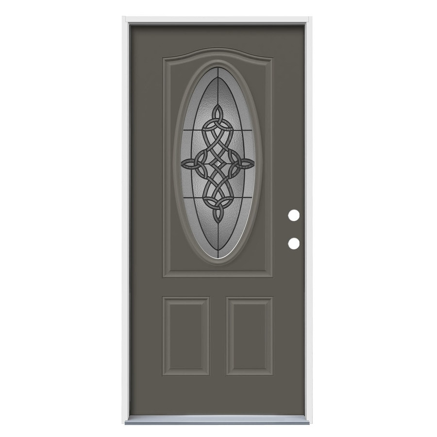 JELD-WEN Dylan 2-Panel Insulating Core Oval Lite Left-Hand Inswing Timber Gray Steel Painted Prehung Entry Door (Common: 36-in x 80-in; Actual: 37.5-in x 81.75-in)