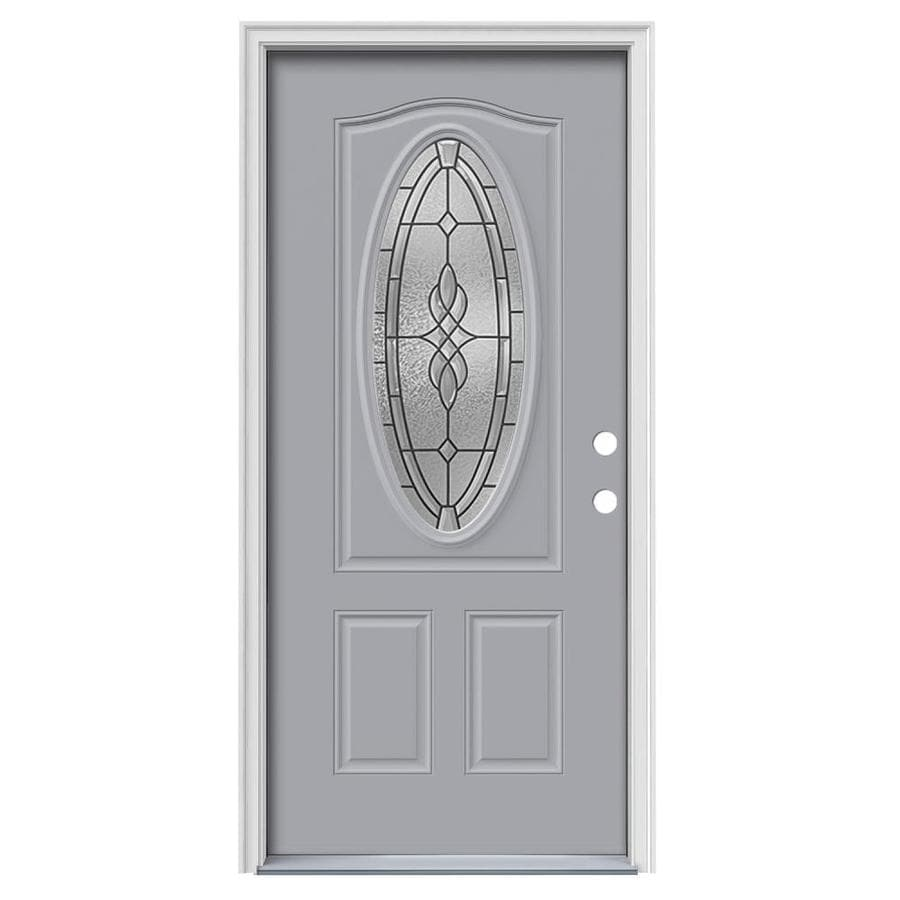 JELD-WEN Hampton Decorative Glass Left-Hand Inswing Infinity Grey Painted Steel Prehung Entry Door with Insulating Core (Common: 36-in x 80-in; Actual: 37.5000-in x 81.7500-in)