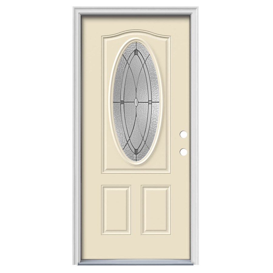 JELD-WEN Hutton 2-Panel Insulating Core Oval Lite Left-Hand Inswing Bisque Steel Painted Prehung Entry Door (Common: 36-in x 80-in; Actual: 37.5-in x 81.75-in)
