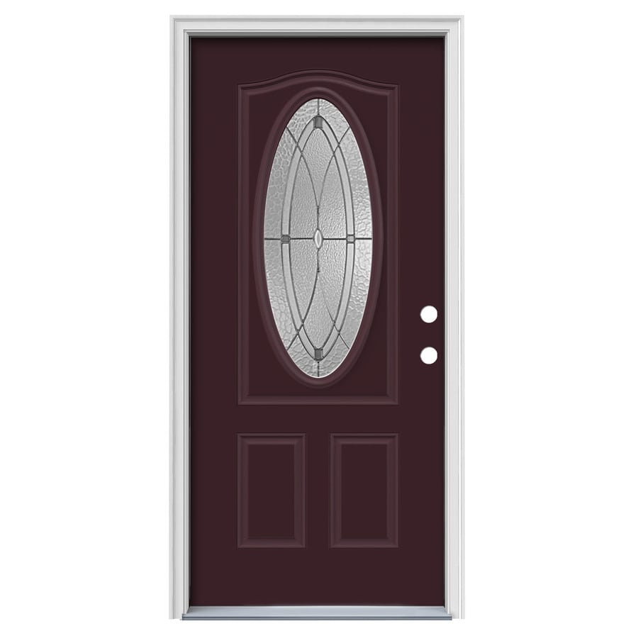 JELD-WEN Hutton Decorative Glass Left-Hand Inswing Currant Painted Steel Prehung Entry Door with Insulating Core (Common: 36-in x 80-in; Actual: 37.5-in x 81.75-in)