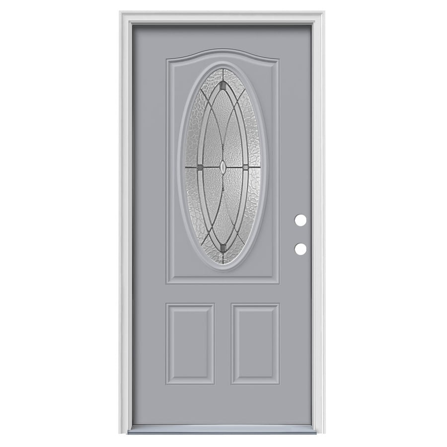 JELD-WEN Hutton 2-Panel Insulating Core Oval Lite Left-Hand Inswing Infinity Grey Steel Painted Prehung Entry Door (Common: 36-in x 80-in; Actual: 37.5-in X