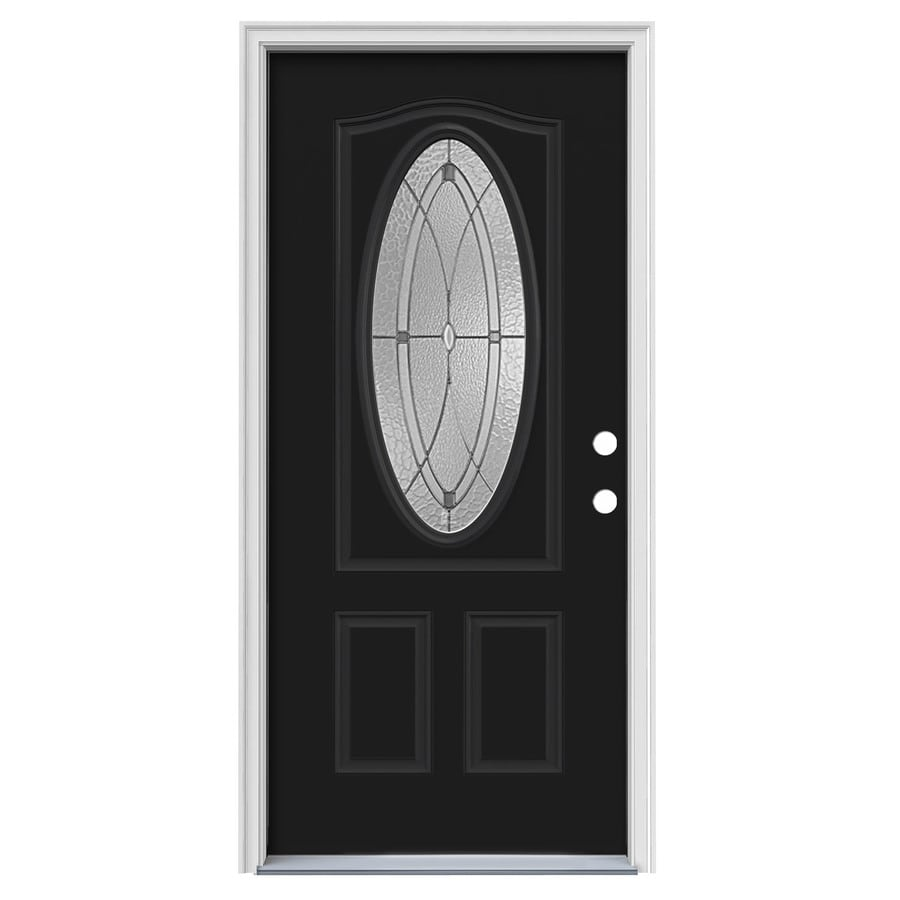 JELD-WEN Hutton Decorative Glass Left-Hand Inswing Peppercorn Painted Steel Prehung Entry Door with Insulating Core (Common: 36-in x 80-in; Actual: 37.5000-in x 81.7500-in)