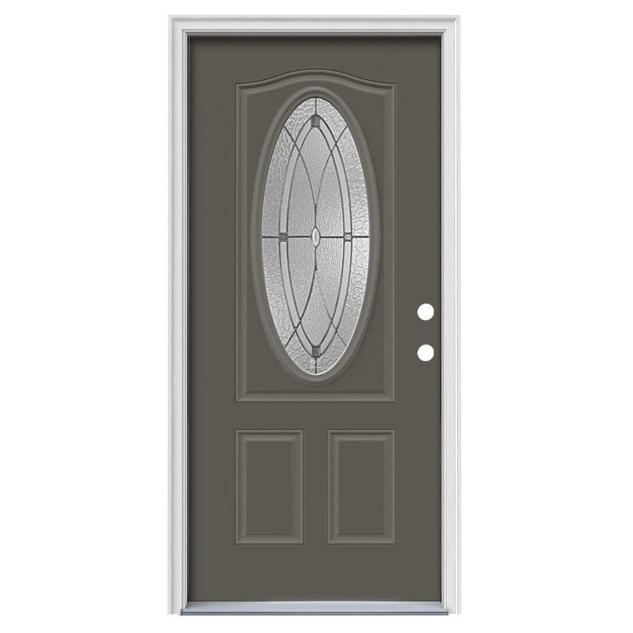 JELD-WEN Hutton Decorative Glass Left-Hand Inswing Timber Gray Steel Painted Entry Door (Common: 36-in x 80-in; Actual: 37.5000-in x 81.7500-in)