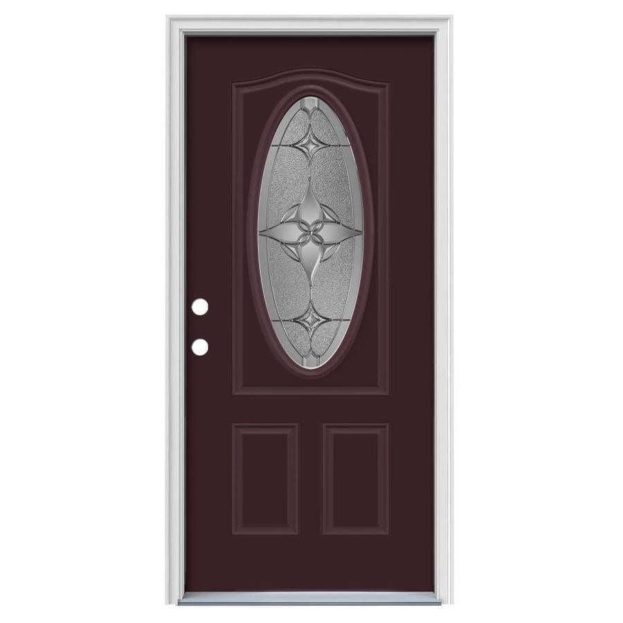 JELD-WEN Astrid Decorative Glass Right-Hand Inswing Currant Painted Steel Prehung Entry Door with Insulating Core (Common: 36-in x 80-in; Actual: 37.5000-in x 81.7500-in)