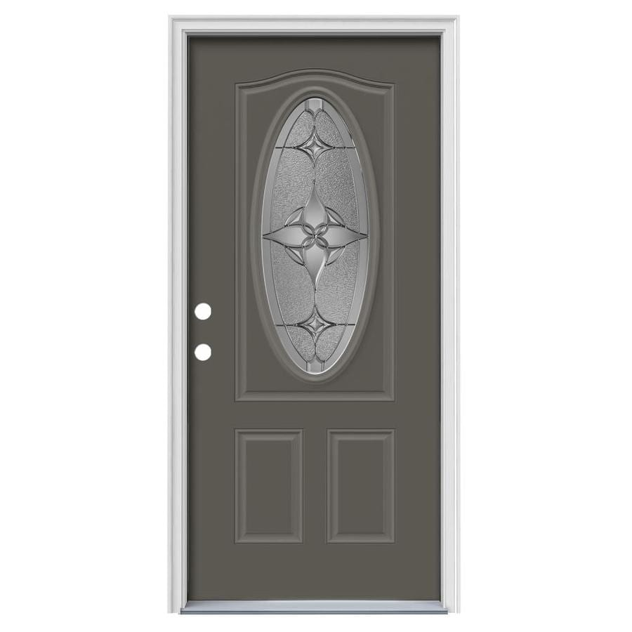 JELD-WEN Astrid Decorative Glass Right-Hand Inswing Timber Gray Painted Steel Prehung Entry Door with Insulating Core (Common: 36-in x 80-in; Actual: 37.5000-in x 81.7500-in)