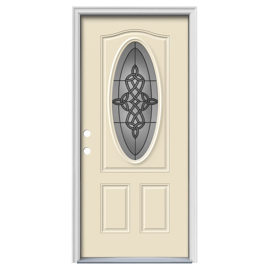 JELD-WEN Dylan Decorative Glass Right-Hand Inswing Bisque Painted Steel Prehung Entry Door with Insulating Core (Common: 36-in x 80-in; Actual: 37.5-in x 81.75-in)