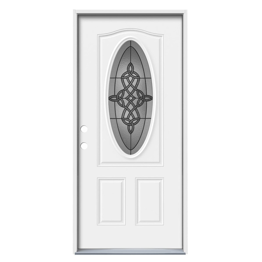 Shop jeld wen dylan 2 panel insulating core oval lite for Exterior door insulation